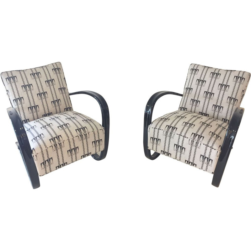 Pair of mid century armchairs H269 by Jindrich Halabala, 1930s
