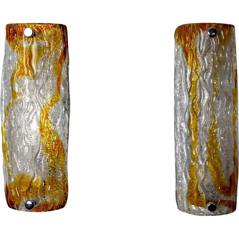 Pair of mid century two-tone sconces by Mazzega Murano, Italy 1970
