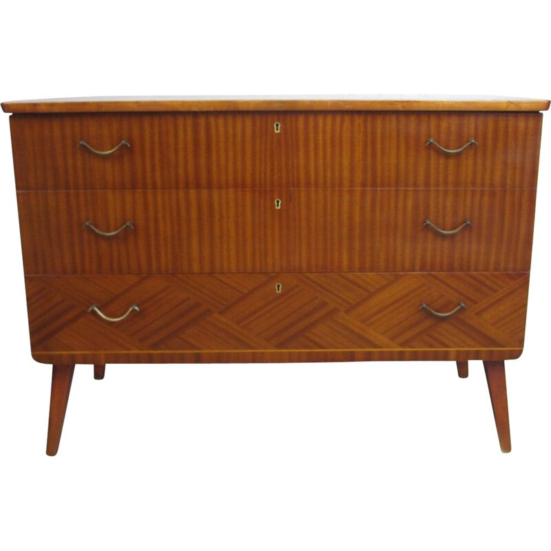 Mid century chest of drawers in mahogany veneerend with 3 drawers, 1960s