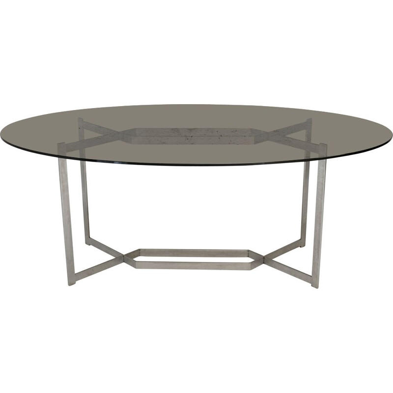 DOM vintage table in brushed aluminium by Paul Legard, France circa 1970s