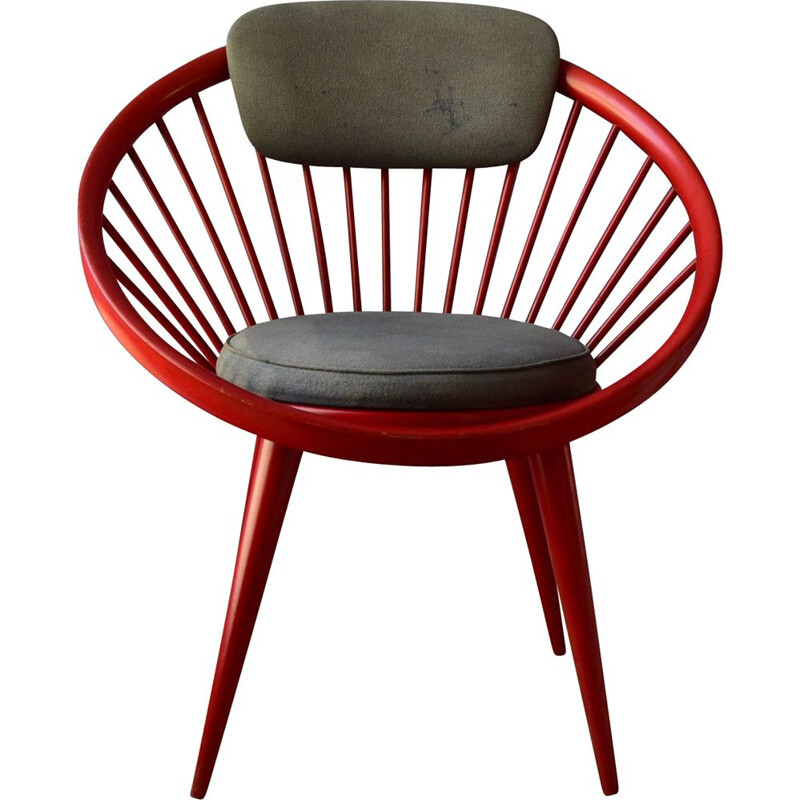 Mid century red circle chair by Yngve Ekström for Swedese, Sweden 1960s