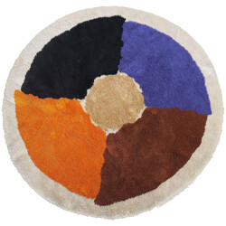 Large circular Rya rug in wool - 1970s