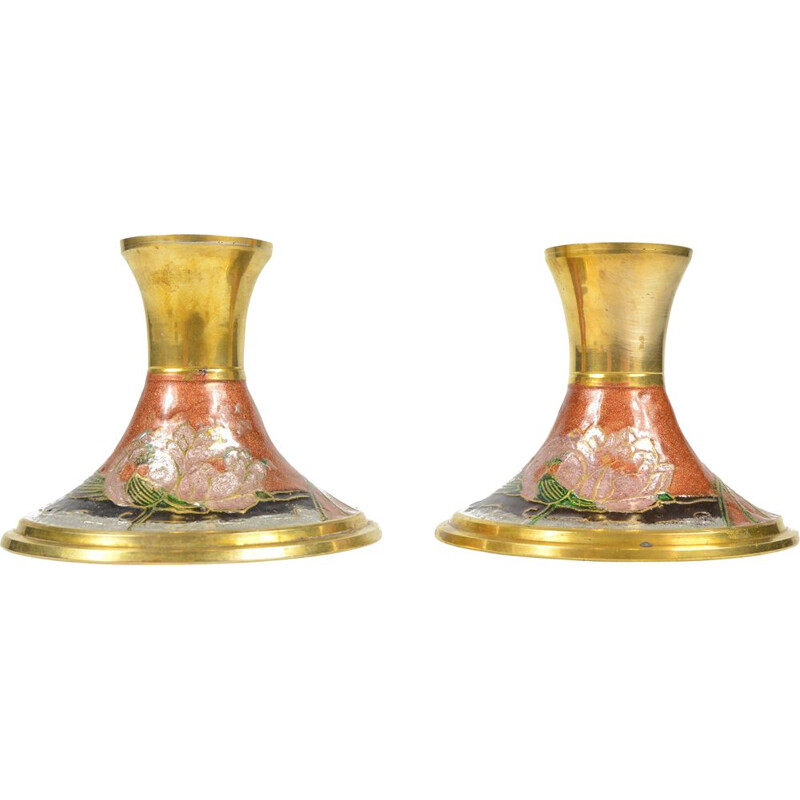 Pair of mid century enameled brass candlesticks, France 1970s