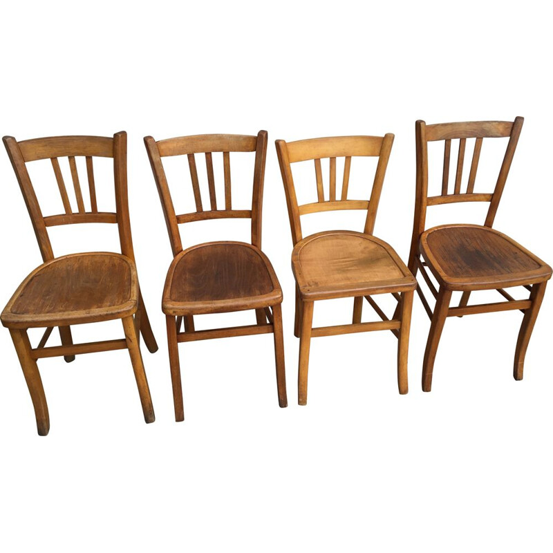 Set of 4 vintage chairs by Bistrot for 3 Luterma, 1930-1940s
