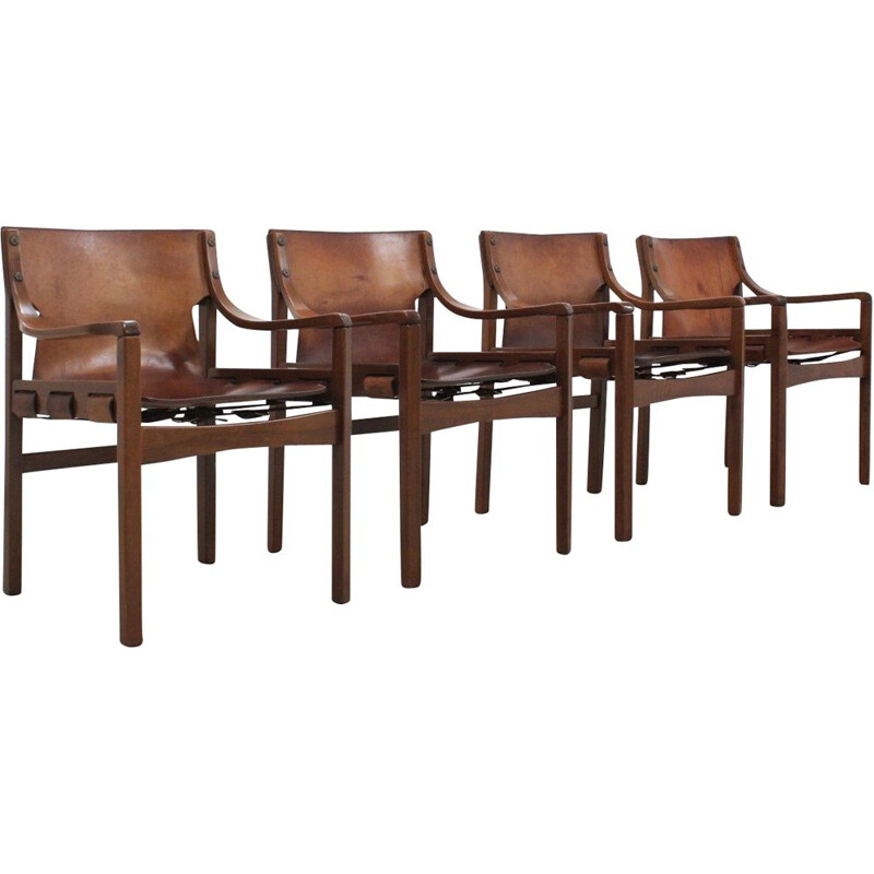 4 brazilian vintage leather dining chairs by Sergio Rodriguez, 1960s