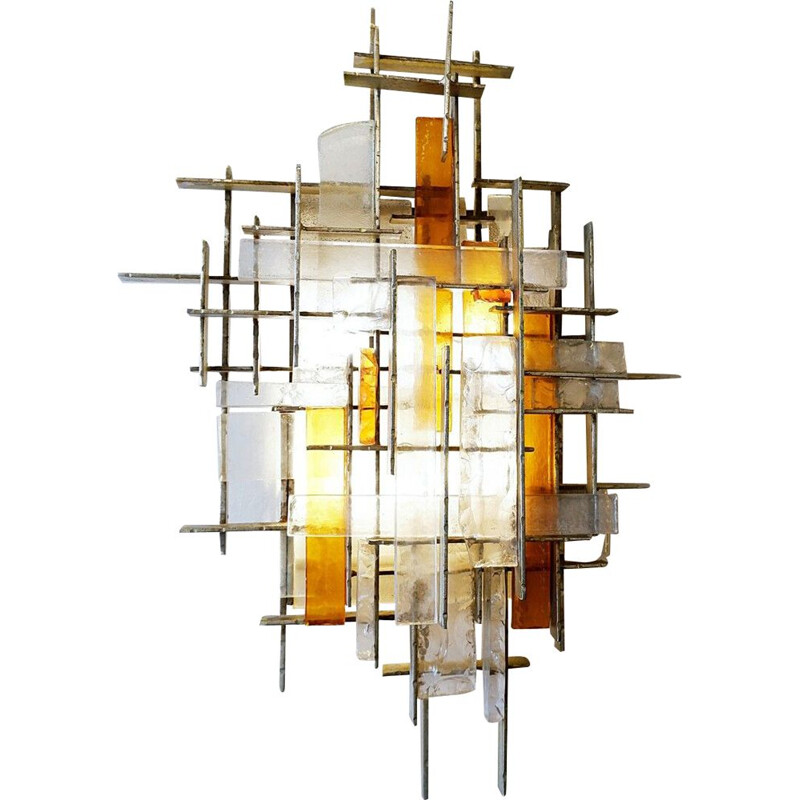 Vintage brutalist wall lights by Poliarte, Italy 1960s