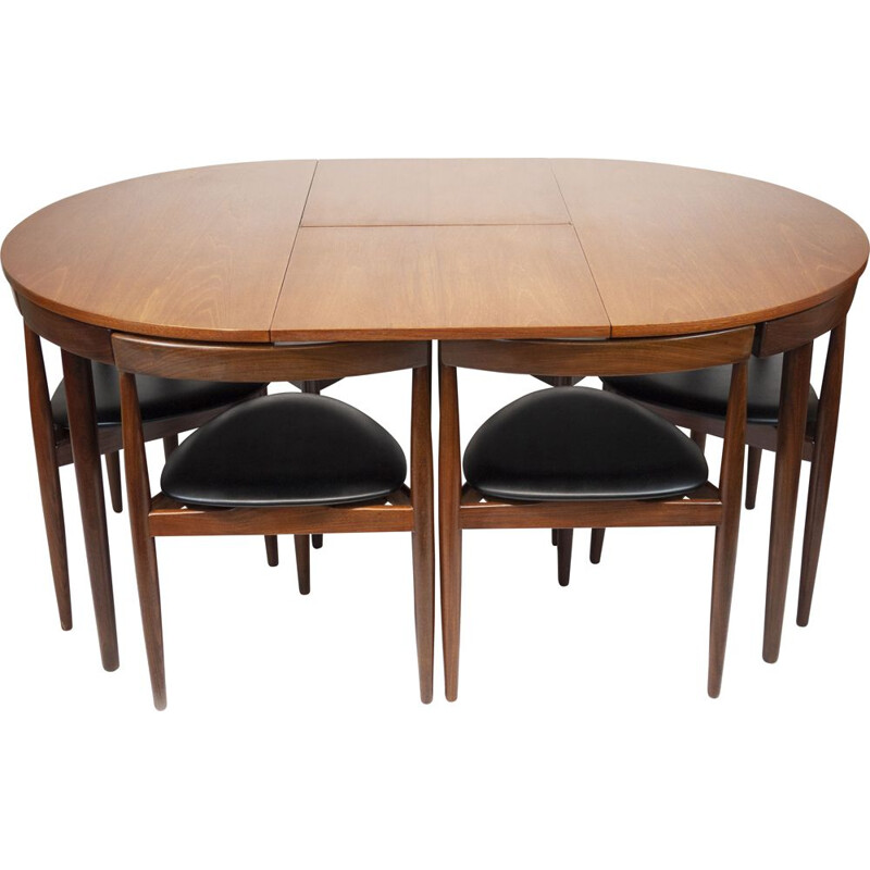 Set of teak dining table and 6 chairs mid century by Hans Olsen for Frem Røjle, Denmark 1950s