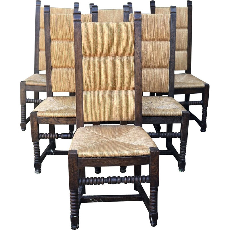 6 vintage neo-basque oak and straw chairs by Charles Dudouyt, 1950s