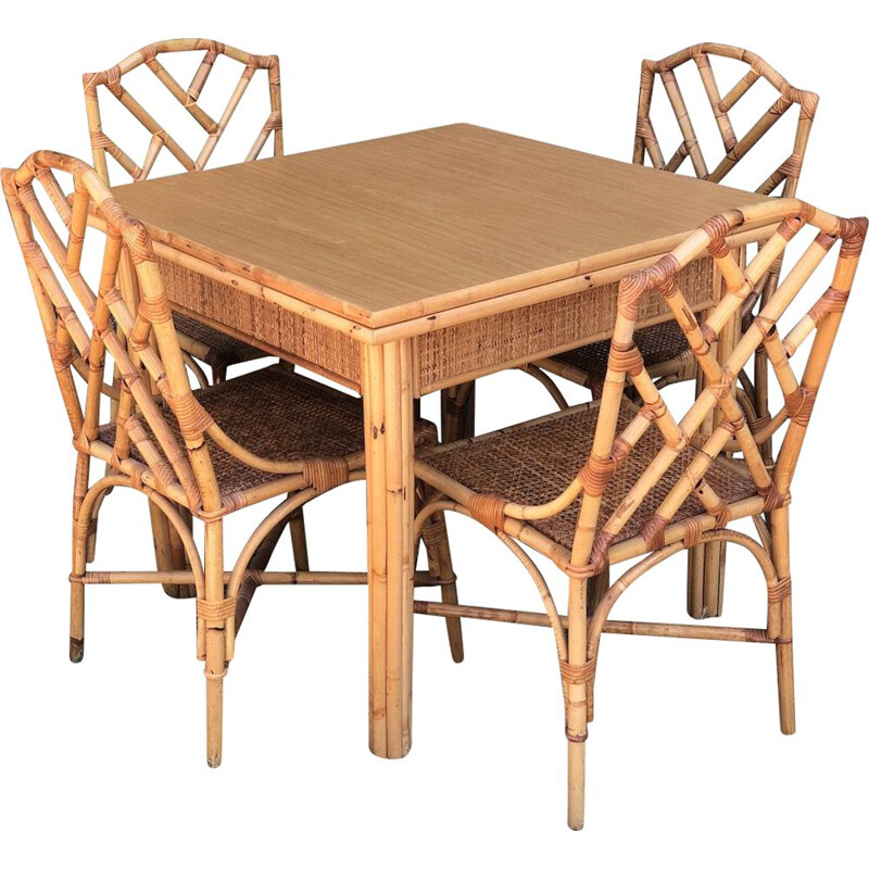 Set of vintage table and 4 chairs in bamboo and woven wicker folding by Dal Vera, 1970s