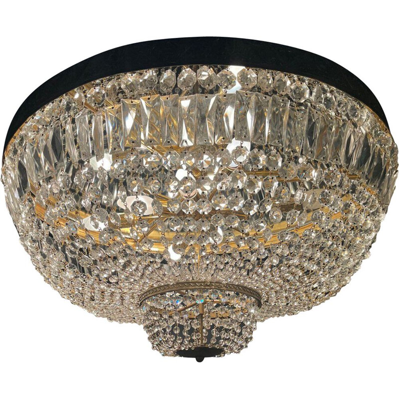 Mid century large bronze and crystal flush mount, 1960