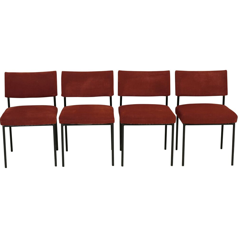 4 mid century chairs by Joseph André Motte for Steiner, France circa 1960s