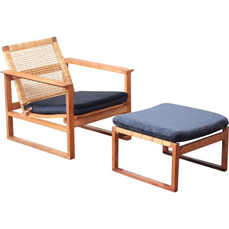 Vintage lounge chair with ottoman by Børge Mogensen for Fredericia, Denmark 1960s