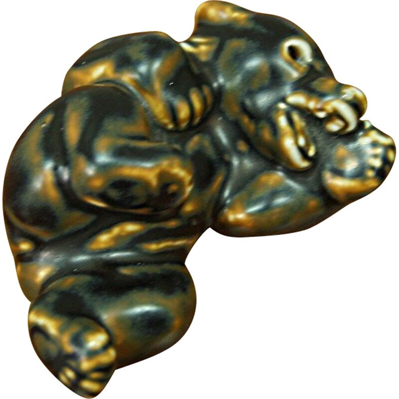 Vintage porcelain bear paperweight by Knud Kyhn for Royal Copenhagen, 1960s