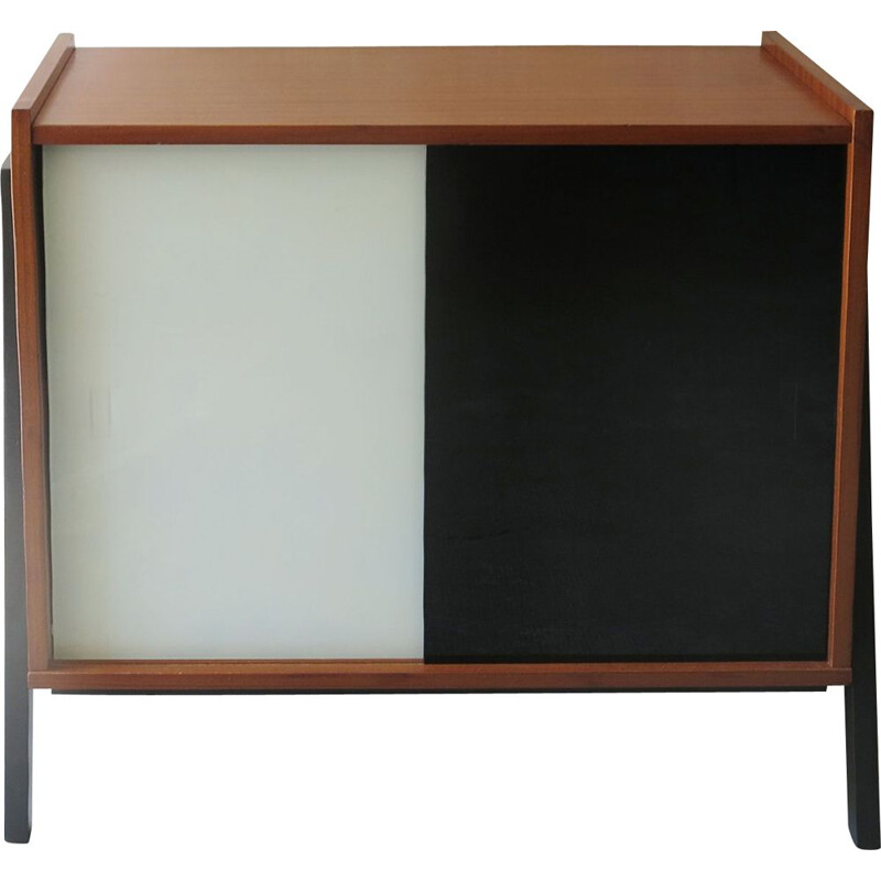 Mid century modernist sideboard with sliding panels in black and white tinted glass, 1960s
