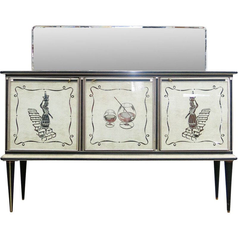 Vintage Italian sideboard vith 3 glazed doors and 2 drawers by Umberto Mascagni, 1950s