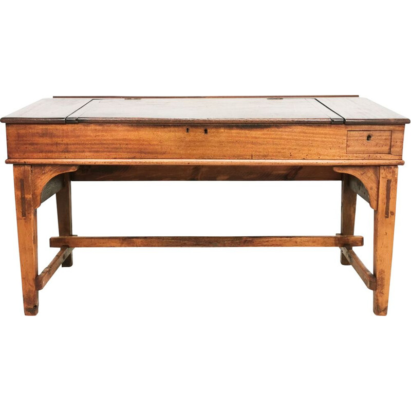 Large vintage clerks planners Draughtsmans desk in pine and mahogany from Haig Colliery