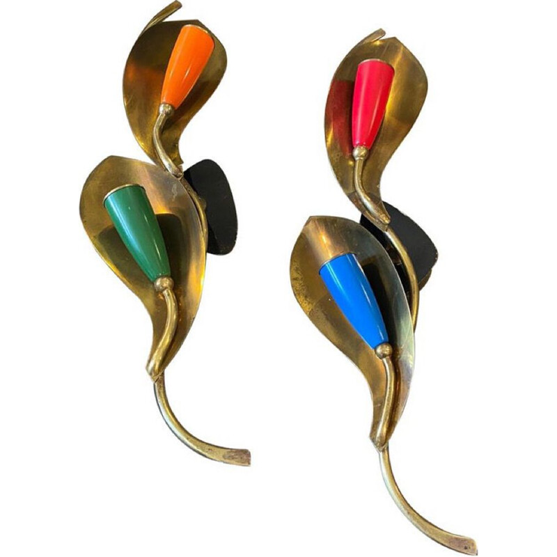 Mid-Century modern pair of brass wall sconces, Italy 1960s