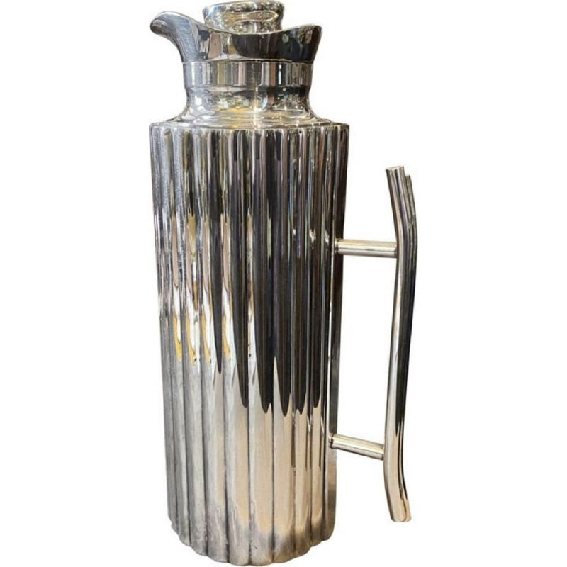 Vintage modernist silver plated thermos carafe by Cassetti Firenze, Italy 1970s