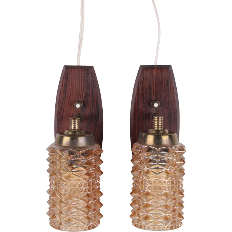 Pair of wall lamps vintage made of teak and colored glass, Danmark 1960s