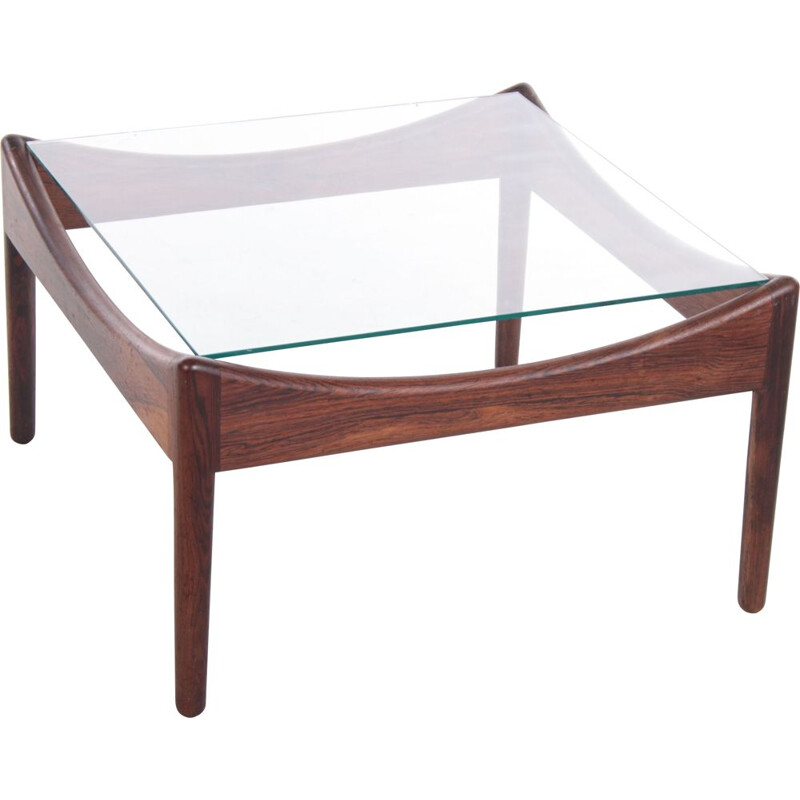Vintage rosewood coffee table with glass top by Kristian Vedel for Søren Willadsen, 1960s