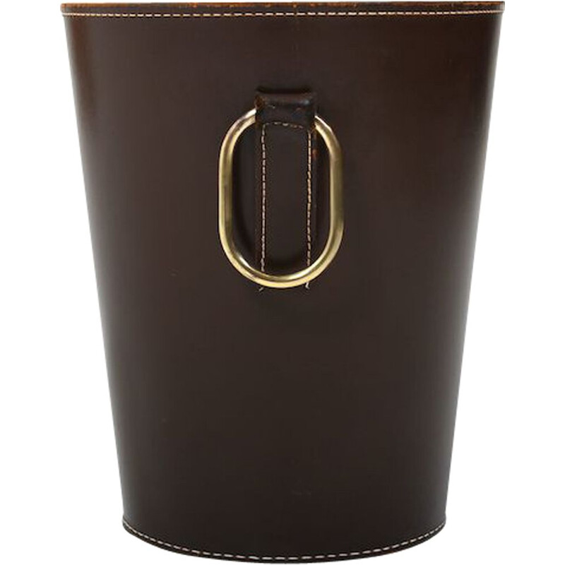 Mid century dark brown leather waste paper basket by Carl Auböck for Illums Bolighus, 1950s
