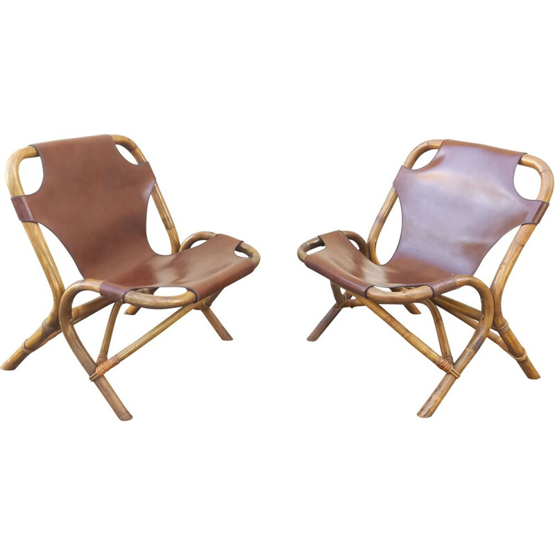 Pair of vintage armchairs in rattan and imitation leather