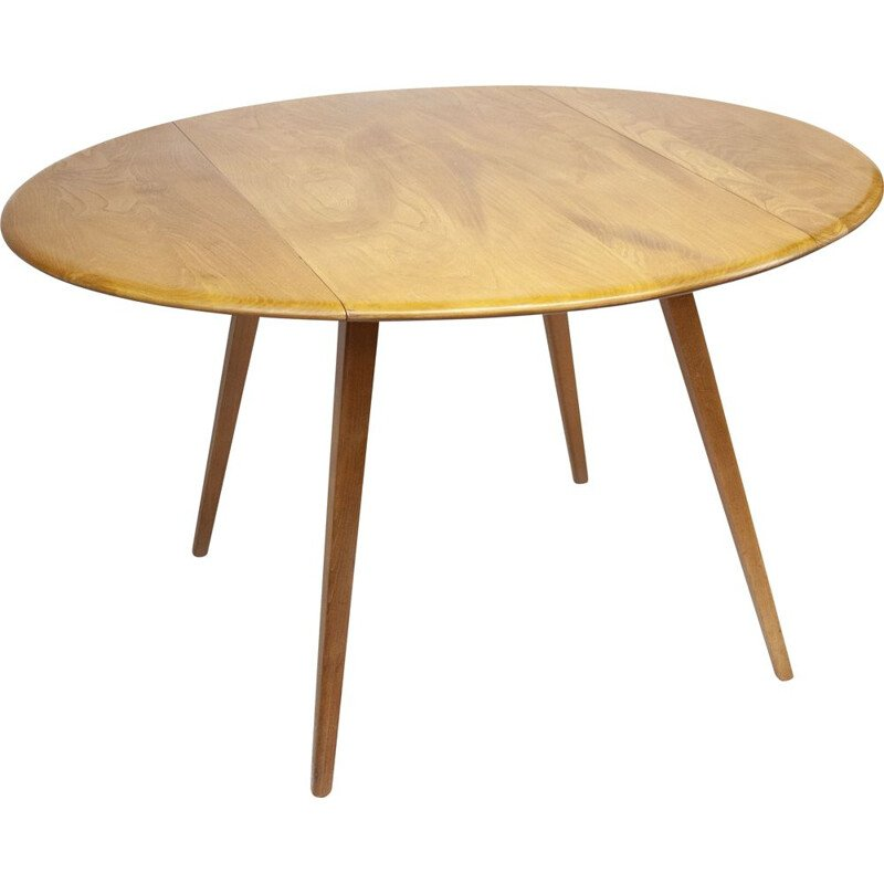 Vintage round drop leaf dining table by Lucian Ercolani for Ercol, 1960s