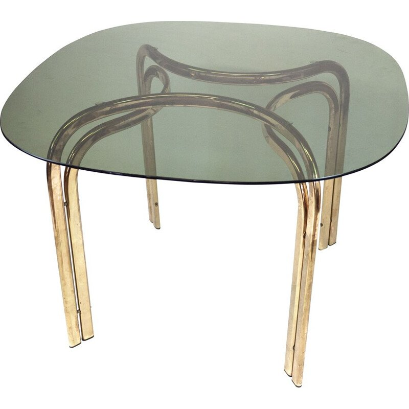 Mid century brass and smoked glass dining table, Italy 1970s