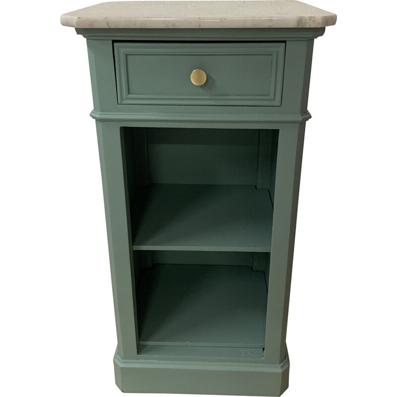Vintage water green jam cupboard with white marble top