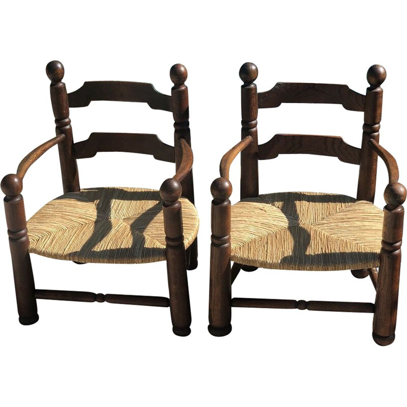 Pair of vintage oak and straw armchairs by Charles Dudouyt,1940s