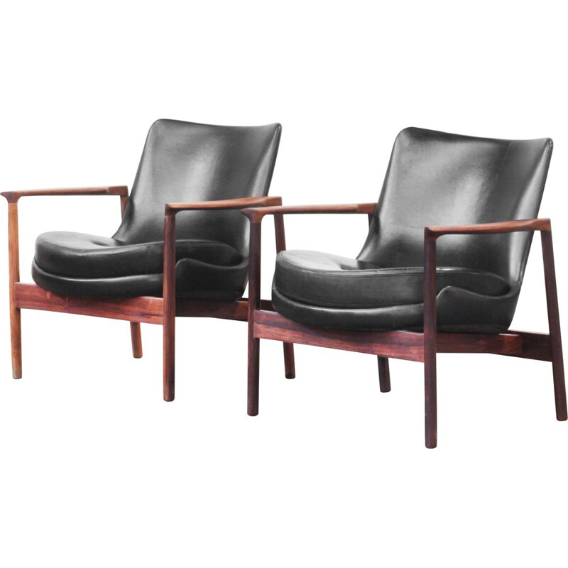 Pair of lounge chairs vintage by Ib Kofod-Larsen for Fröscher, Germany 1970s