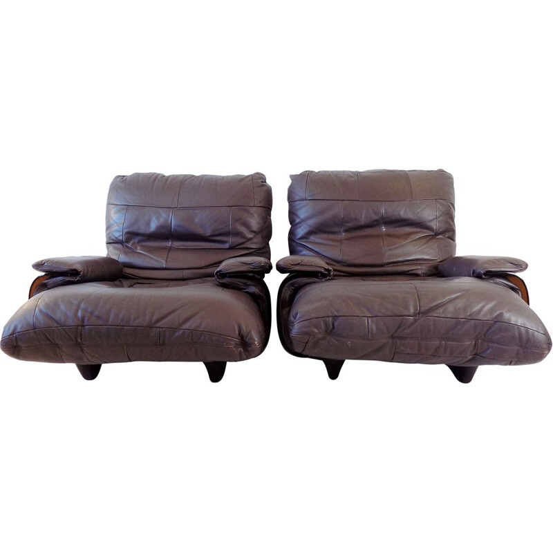 Pair of Marsala brown leather armchairs vintage by Michel Ducaroy for Ligne Roset, 1970s