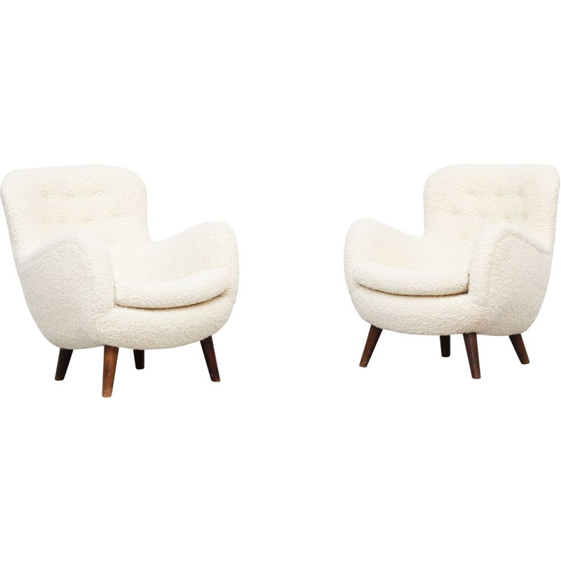 Pair of lounge chairs vintage by Frits Schlegel, Denmark 1940s
