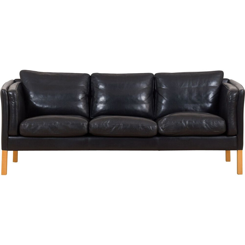 Vintage sofa in thick black aniline leather by Stouby, 1960-1970s
