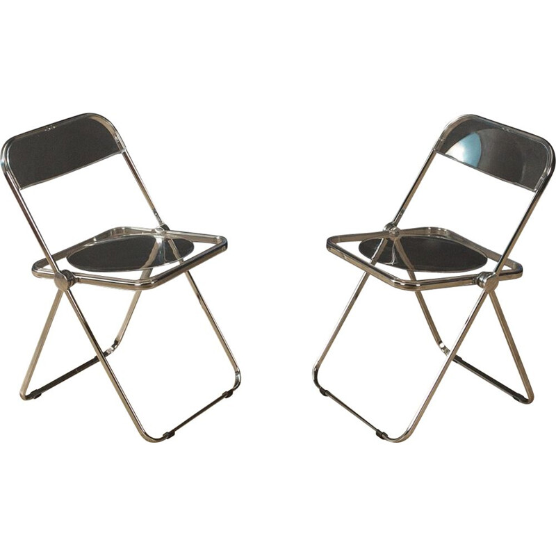 Pair of folding chairs vintage by Giancarlo Piretti for Anonima Castelli, Italy 1960s
