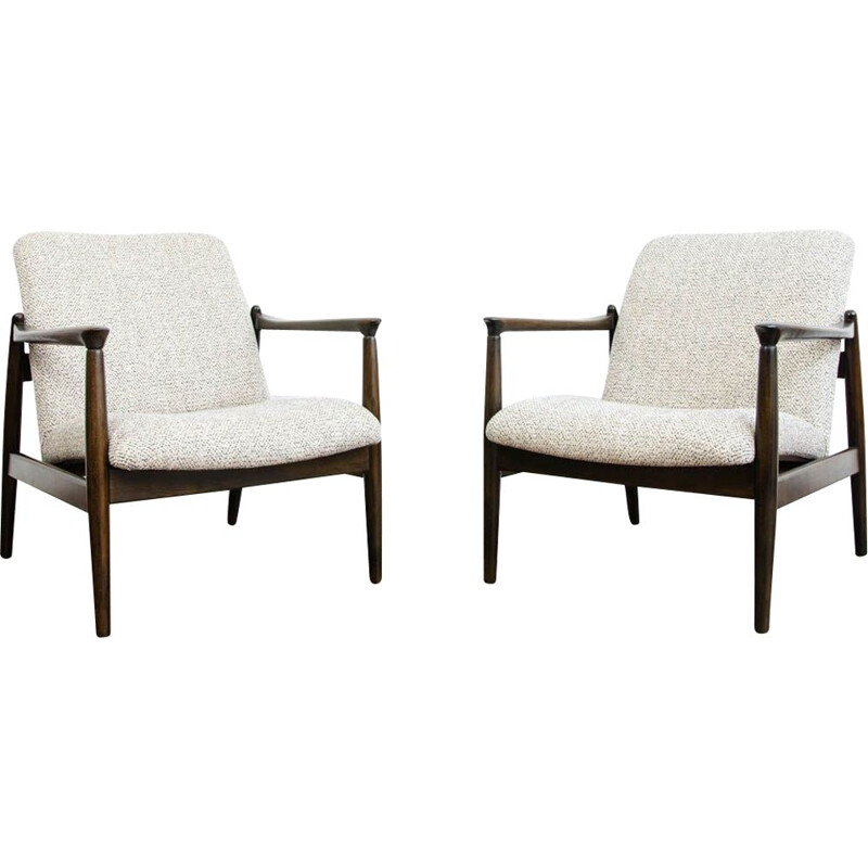 Pair of GFM-64 armchairs vintage by Edmund Homa, Poland 1960s