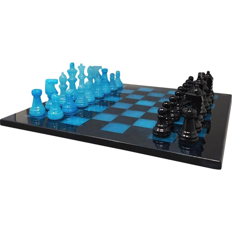 Vintage blue and black chess set in Volterra alabaster handmade, Italy 1970s