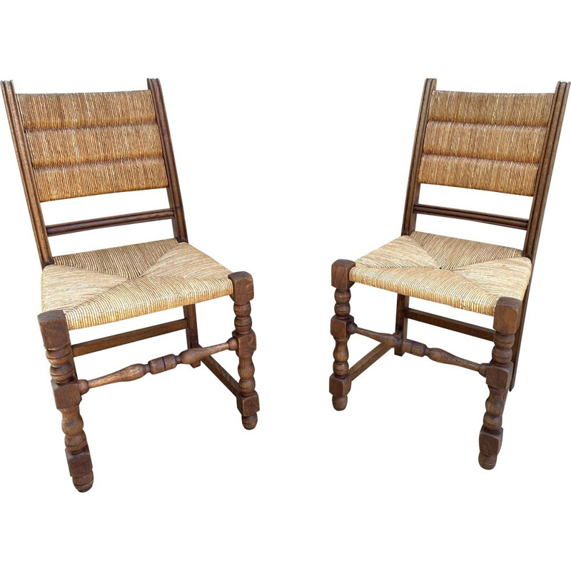 Vintage pair of straw chairs by Charlotte PERRIAND