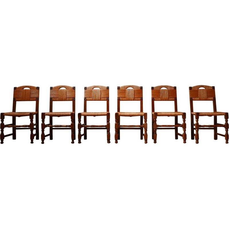 Set of 8 mid century french rush dining chairs, 1950s