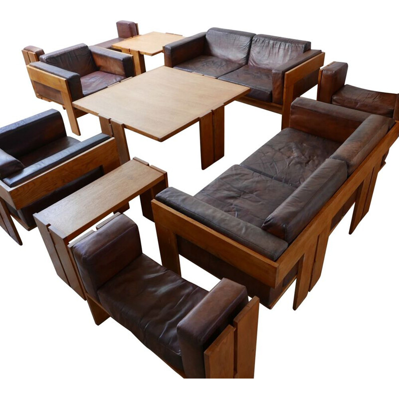 Set of huge room suite of mid century armchairs, sofas, benches and coffee tables, Italy 1960s