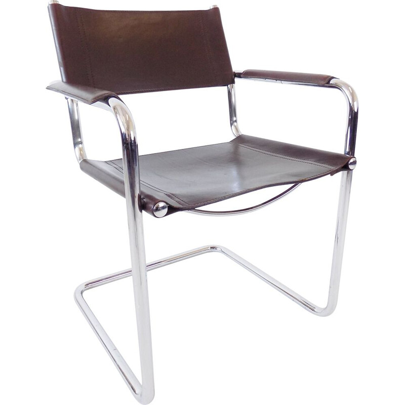 Vintage chrome cantilever brown leather chair by Matteo Grassi MG 5