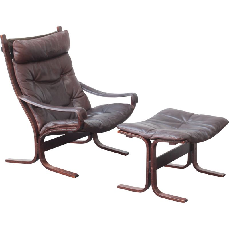 Vintage armchair with footrest ottoman by Ingmar Relling for Westnofa, 1960s