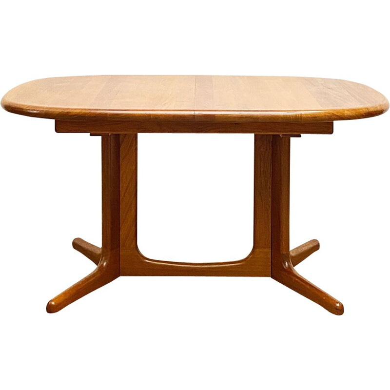 Extendable mid century oval teak dining table by Glostrup, Denmark 1960s