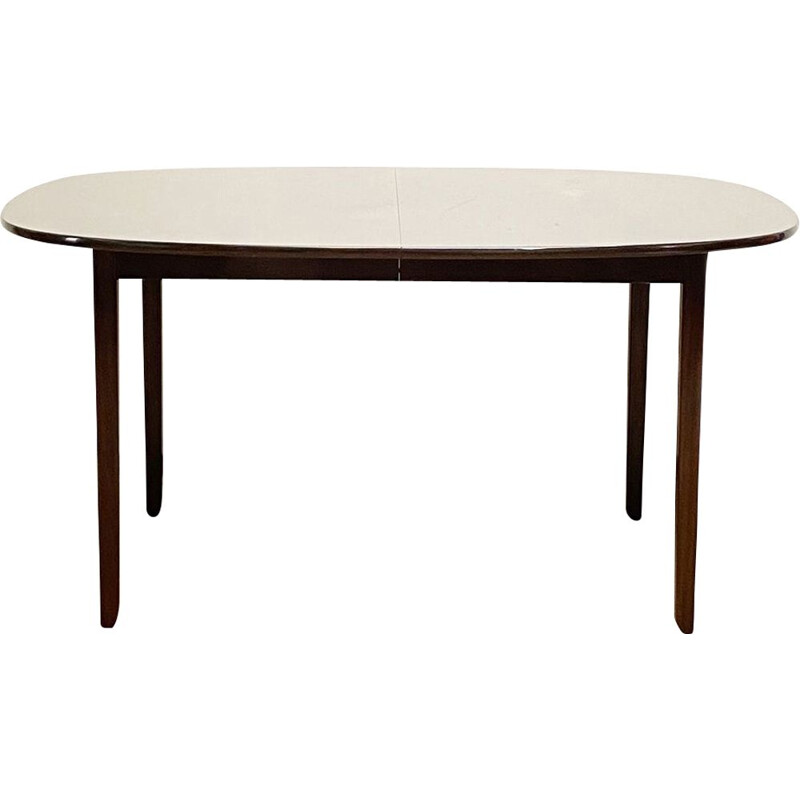 Extendable mid century mahogany dining table by Ole Wanscher for Poul Jeppensens, Denmark 1950s