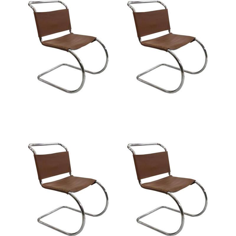 Set of 4 chrome Art deco dining chairs mid century by Mies van der Rohe MR10, 1960s