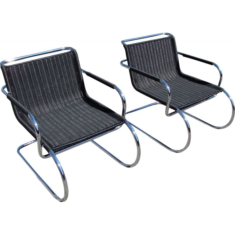 Pair of bauhaus armchairs vintage by Franco Albini for Tecta , Germany 1970s