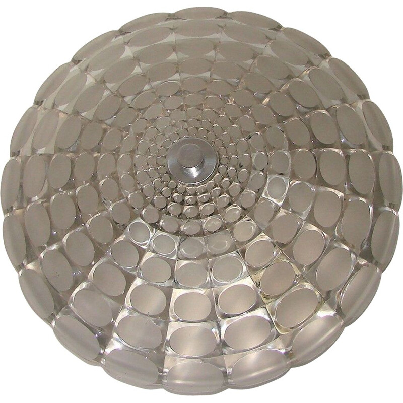 Vintage aluminium and glass ceiling light by Peill & Putzler, 1970s