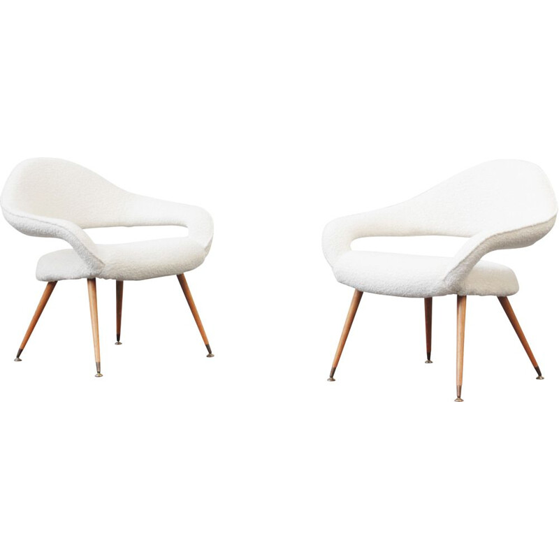 Pair of lounge chairs vintage armchair model DU 55 P by Gastone Rinaldi, Italy 1954s
