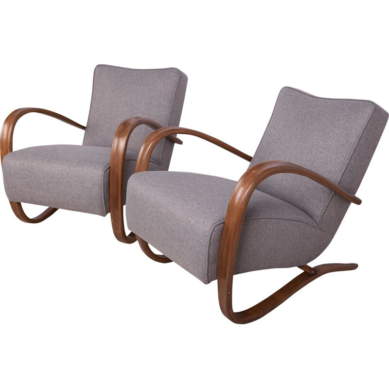Pair of vintage model H-269 lounge chairs by Jindřich Halabala for UP Závody, 1930s