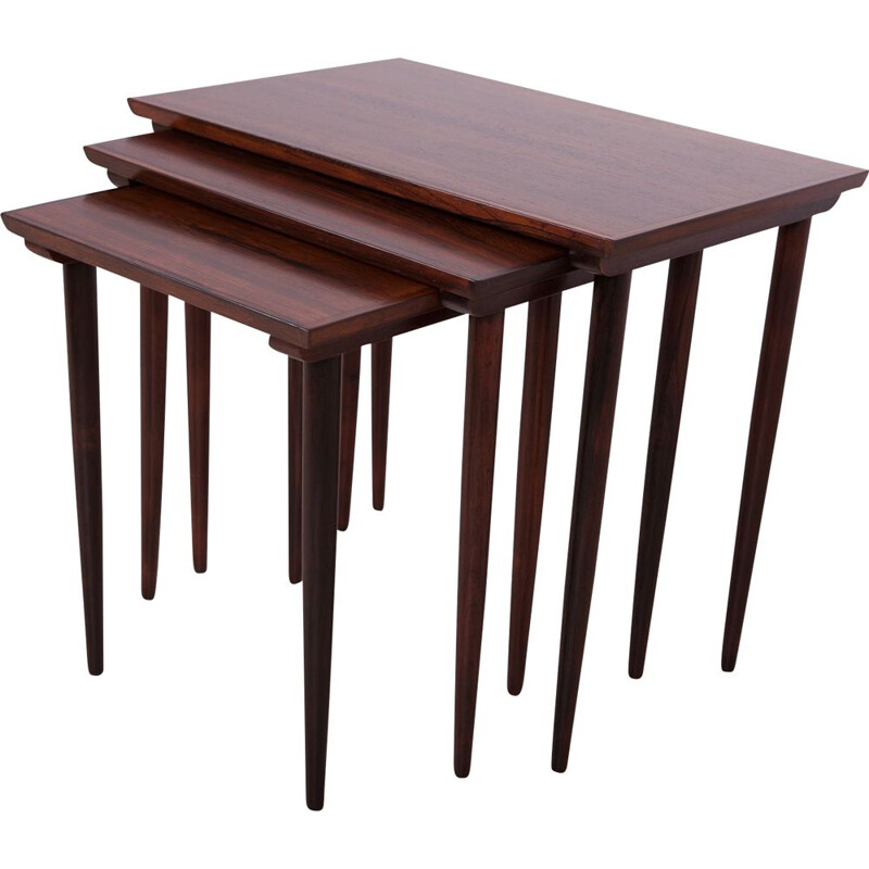 Mid century teak and roosewood set of 3 nesting tables, Denmark 1960s